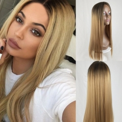 Sexy Women's Long Straight Wig Female Gradient Color Resistant Hair Cosplay Party Full Hairnet Linen yellow like picture