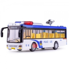 Carvey alloy police car model, children's toy simulation, sound and light power bus white 21*5.5*7.5 CM