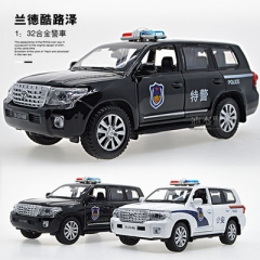 New 1:32 police alloy car model metal toy vehicles with pull back flashing musical for children toys black 15*6*6 cm