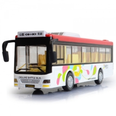 Simulation bus model alloy pull back cars metal big toy car electric light sound For Boy gifts white 21*5*6.5 cm