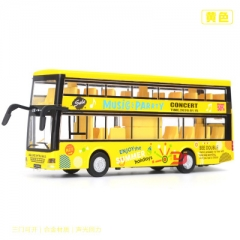Kids Toy Car Model Double-decker Bus Alloy Diecast Vehicle Toys for Boys Gift yellow 21*4.5*8.4 CM