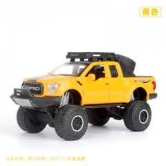 1:32 Ford F150 Raptor Pickup SUV Off-road Alloy Diecast Toy Vehicle Car Model Collection Gift yellow 18.5*8.5*9 CM