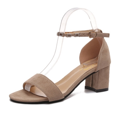 8eb0d11d463 Fashion Faux Suede summer shoes woman gladiator sandals thick high heels  sexy open toe women Beige 35Product No  1655990Item specificsBrand