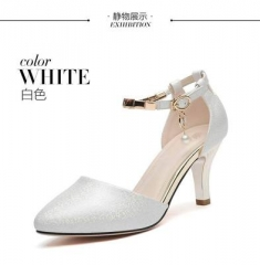 Women's high heel sandals summer new Korean fashion women's shoes casual wild ladies high heels white 35