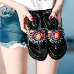 Summer new folk style beaded sandals rhinestones thick bottom flip flops wedge feet slippers women black 34