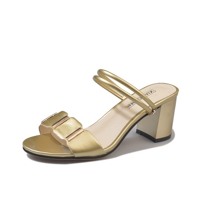 8a792d0bebb Women Sandals Summer Lady Leather Slippers Shoes Women Thick Heels Sandals  Fashion Slippers Gold 35  Product No  1657028. Item specifics  Brand