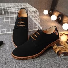 Fashion men casual shoes new spring men flats lace up male suede oxfords men leather shoes black 38 Microfiber
