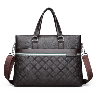 Top Grade Mens Leather Business Handbags For Male Embossed Black Brown Man Satchels Shoulder Bags brown 38*29*6