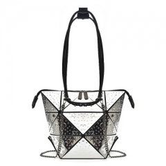 Plaid Geometric Lingge Envelope Handbag Women Clutch Ladies Purse  Messenger Shoulder Bags Silver 34*34*1 cm