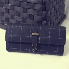 New retro matte students embroidered line square long ladies clutch bag luxury handbags women bag black 19*9*3 cm