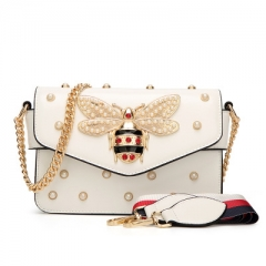 Pearl Bee Bags Crossbody Bags For Women High Quality Chains Handbags Fashion Female Shoulder Bag white 21*15*8 cm