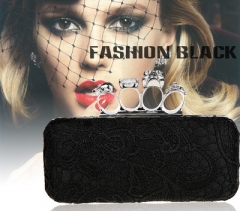 Skull Women Wristlet diamond purse dress party skull evening bag Envelope Clutch Ladies Clutch Black 19cm x 5cm x 12cm