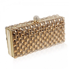 Luxury Glass Diamond Evening Bags Bling Classic Rhinestone gold Clutch bag wedding bridal purse Gold 19*10*4.5 cm