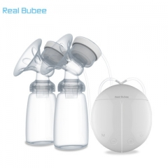 Real Bubee Bilateral Electric Breast Pump Postpartum Lactation Heating Pads & Feeding Nipples Set white one size