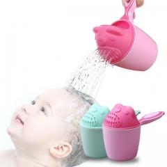 Baby Cartoon Bear Bathroom Cup Kid Shower Shampoo Cup Baby Shower Bath Spoon Wash Cup Pink 9.5*10.7 cm