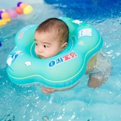 New Baby Neck Ring Inflatable Infant Swim Ring Circle Bathing Float Inflatable Raft Neck Rings blue M--Inner diameter 8.5CM