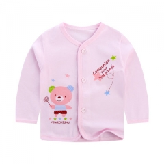 Spring and autumn baby bottoming shirt baby boy/girl long sleeve baby clothes top Pink Height 59cm