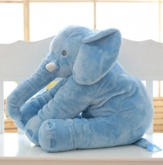 Cartoon Plush Elephant Toy Kids Sleeping Back Cushion Stuffed Pillow Elephant Doll Baby Doll blue 40cm