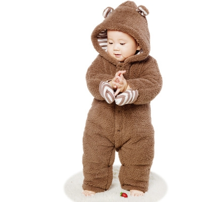 c935e4d5d Baby Clothes Flannel Baby Boy Clothes Cartoon Bear Ear Romper ...