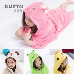 Lovely Soft Coral Fleece Baby Bath Towel Hooded Children Bathrobe Cloak Baby Receiving Blanket random colors 90*90 cm