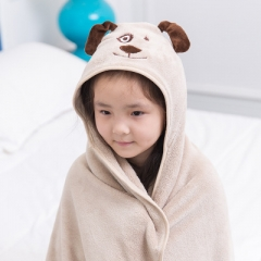 Lovely Soft Coral Fleece Baby Bath Towel Hooded Children Bathrobe Cloak Baby Receiving Blanket color 5 90*90 cm