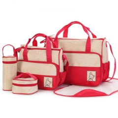 Five-piece mummy bag for moms with nappy bags function baby diaper mama Bags maternity red one size