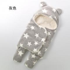 Newborn blanket sleeping bag baby double layer full print swabbie plush blanket gray 65X75cm
