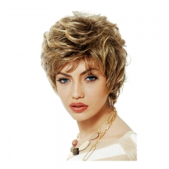 High temperature silk fashion ladies fluffy short wig headgear gold as the picture