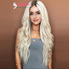 European and American wigs ladies gradient long curly hair rose net wig set Platinum as the picture