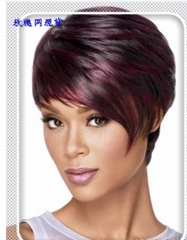 Mixed color wig European and American dyed black wine red oblique bangs short hair lady as picture as the picture