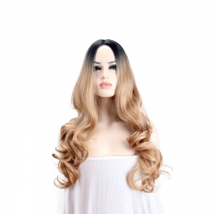 Golden wig, European and American dyeing gradient, long curly hair, lady wig gold as the picture