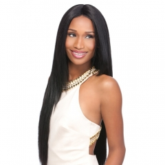 Europe and the United States long straight hair natural realistic wigs long thickened cosplay wig black as the picture