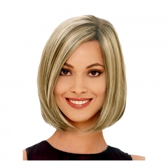 European and American gold wave head female short hair wig women short straight hair wig gold as the picture