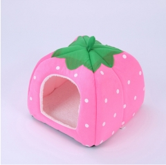 Pet polka dot strawberry nest warm kennel cat litter removable and washable pink s