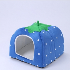 Pet polka dot strawberry nest warm kennel cat litter removable and washable dark blue s