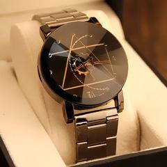 2018 New Luxury Watch Fashion Korean retro steel band lovers Korean Edition quartz watch watch table Men black one size