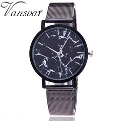 2018 new alloy mesh belt watch fashion marble design quartz Lady Watch black one size