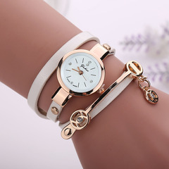 Fashion circle Ladies Watch PU lady with a watch Bracelet watch white one size