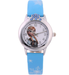 2018 New Cartoon Children Watch Princess Watches Fashion Kids Cute rubber Leather quartz Watch Girl blue one size