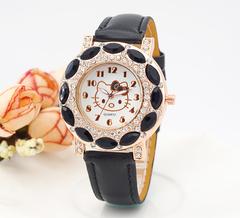 Lovely Hello Kitty Watch Children Girls Fashion Crystal Dress Quartz Wristwatches Kids Watch black one size
