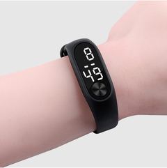 Fashion Bracelet Watches  LED Electronic Digital Candy Color Silicone Wrist Watch for Children Kids black one size