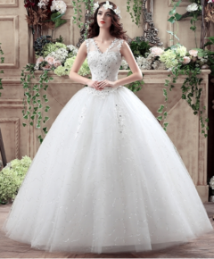 bride's wedding dress 2018 new style wedding dress V collar custom wedding dress Korean s white