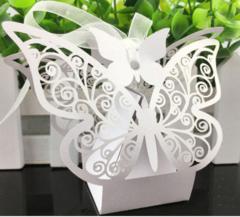 100pcs/bag European wedding candy box creative butterfly flower hollowed candy box wedding gift  box white
