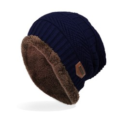 6 Colors Winter Hats for Men Solid Color Knitted Hats Flocking Warm Beanie Bonnet Balaclava Hats navy one size