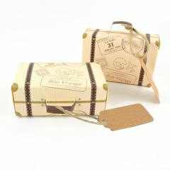 100pcs/bag Creative Mini Suitcase Design Candy Box Wedding Gift Box with Card for Event Party kraft with card and rope