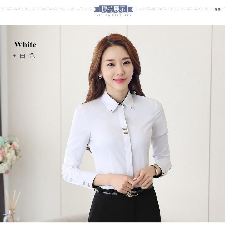 f4099001db516 OL women long sleeve shirt black white slim cotton blouse office ladies plus  size formal tops