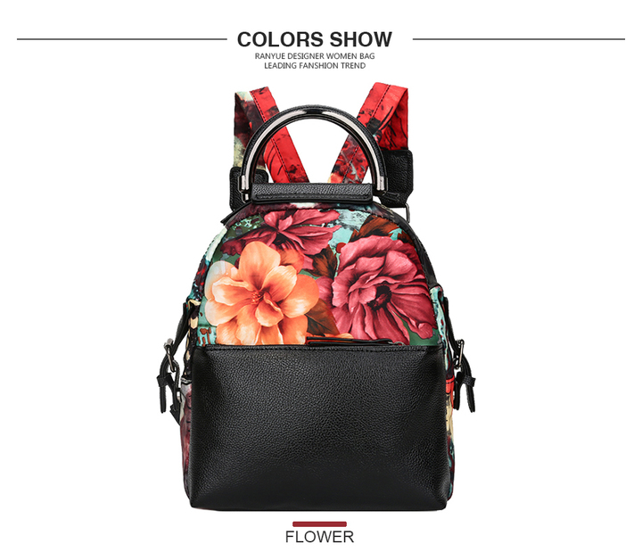 abc0bb19e03c Waterproof Nylon+Pu Leather Women Backpack Flower Printing Backpack Women  Floral School Bags 1 one