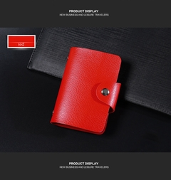 Fashion  Leather Function 24 Bits Card Case Business Card Holder Men Women Credit Passport Card Bag 1 one size