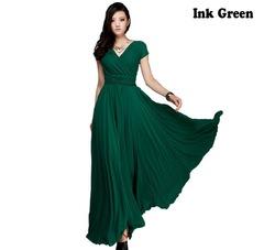 2019 New Fashion Women Cotton Girdle Long Dress V-Neck High waist Bohemian Pure D s 1