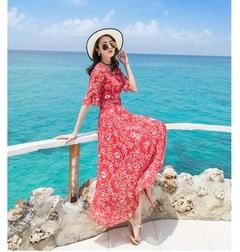 The new women summer wear long dress of cultivate one's morality female chiffon sleeve skirt falbala s 1